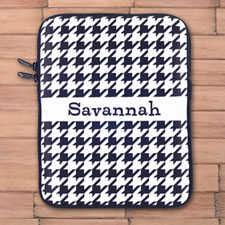Custom Initials Black Hounds Tooth Ipad Sleeve