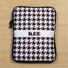 Personalized Initial Chocolate Hounds Tooth Ipad Sleeve