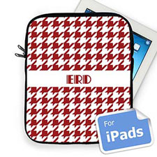 Custom Initials Red Hounds Tooth Ipad Sleeve