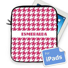 Custom Name Hot Pink Hounds Tooth Ipad Sleeve