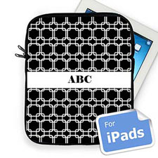 Custom Initials Black Links Ipad Sleeve