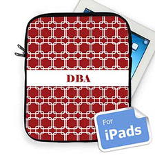 Custom Initials Red Links Ipad Sleeve