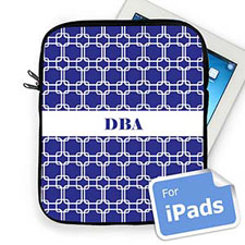 Custom Initials Blue Links Ipad Sleeve