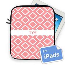 Custom Initials Pink Lkat iPad Sleeve