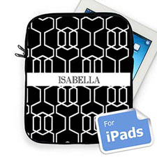Custom Name Black Trellis Ipad Sleeve