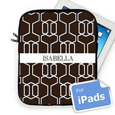 Custom Name Chocolate Trellis Ipad Sleeve