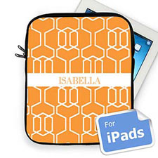 Custom Name Orange Trellis Ipad Sleeve