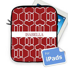 Custom Name Red Trellis iPad Sleeve