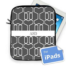 Custom Initials Grey Trellis iPad Sleeve