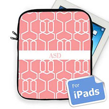 Custom Initials Pink Trellis Ipad Sleeve