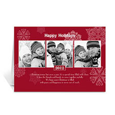 Custom Printed Snowing Happiness Three Collage Greeting Card