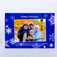 Custom Printed Blue Snowfall Wishes Greeting Card