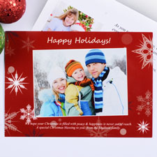 Create My Own Red Snowfall Wishes Landscape Invitation Cards