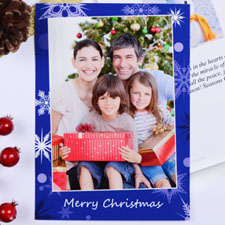 Create My Own Blue Snowfall Wishes Portrait Invitation Cards