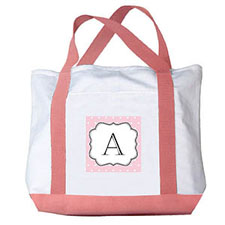 Pink Polka Dots Personalized Monogram Canvas Bag, Pink