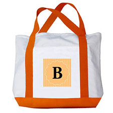 Your Letter Custom Orange Monogram Canvas Bag, Orange