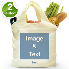 Personalized Both Sides Folded Shopper Bag, Square Image