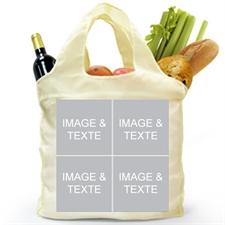 Personalized Both Sides 4 Collage Folded Shopper Bag, Classic