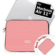 Personalized Both Sides Custom Initials Pink Polka Dots Macbook Air 11 Sleeve