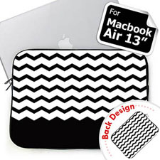Customize 2 Sides Personalized Name Black Chevron Macbook Air 13 Sleeve