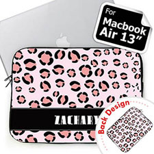 Custom 2 Sides Personalized Initials Pink Leopard Pattern Macbook Air 13 Sleeve