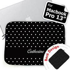 Custom Front And Back Personalized Name Black Polka Dots Macbook Pro 13