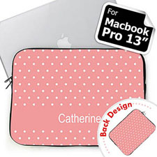Personalized Both Sides Custom Initials Pink Polka Dots Macbook Pro 13 Sleeve (2015)