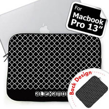 Custom Front And Back Personalized Initials Black Quatrefoil Macbook Pro 13 Sleeve (2015)