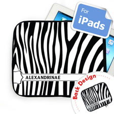 Custom Front And Back Zebra Pattern Ipad Sleeve