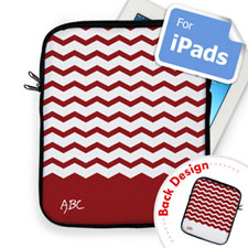 Custom Front And Back Red Chevron Ipad Sleeve