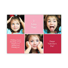 Collage Photo Personalized Valentine Card, 5X7 Flat