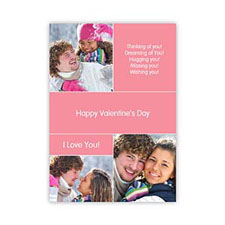 Heart Collage Photo Personalized Valentine Card, 5X7 Flat