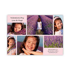 Pink Personalized Photo Valentine Card, 5X7 Flat