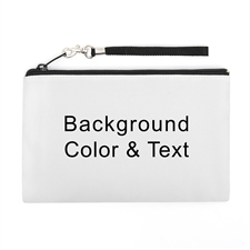 Personalized Background Color & Text (2 Side Same Image) Wristlet Bag (Medium Inch)