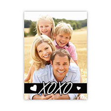 Xo Outline Personalized Photo Valentine Card, 5X7 Flat