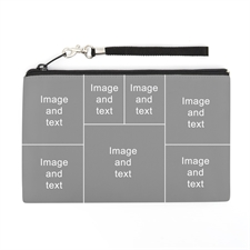 Personalized Facebook 6 Collage (2 Side Different Image) Wristlet Bag (5x8)