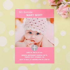 Print Your Own Elegant Cross – Princess Baptism Photo Invitation Cards