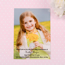 Print Your Own Christening Cross Communication Photo Invitation Cards