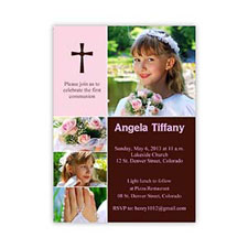 Print Your Own Elegant Cross  Princess Collage Communication Invitation Cards