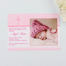 Print Your Own Perfect Angle  Strawberry Baptism Photo Invitation Cards
