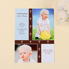 Print Your Own Organic Cross – Boy Collage Communication Invitation Cards