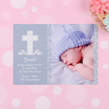 Framed Cross Boy Baptism Photo Invitation
