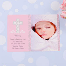 Print Your Own Framed Cross Girl Baptism Photo Invitation Cards