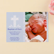 Print Your Own Blessed Baby Blue Baptism Photo Invitation Cards
