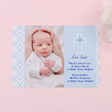 Print Your Own Faithfully Blue Baptism Photo Invitation Cards