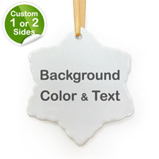 Personalized Background Color & Text Snow Snowflake Ornament
