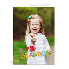 Custom Printed I Heart Grandpa Greeting Card