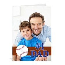 Custom Printed #1 Dad Greeting Card