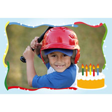 Baby Boy Cake Birthday Personalized Animated Invitation Card (4 X 6)