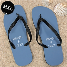 Personalized Flip Flops TWO IMAGES, Men X-Large